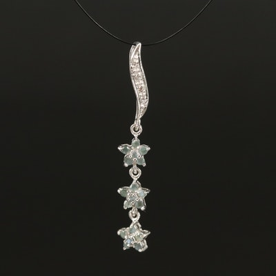 Sterling Silver Alexandrite and White Topaz Star Drop Pendant