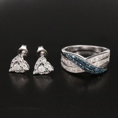 Sterling Diamond Crossover Band and Heart Stud Earrings