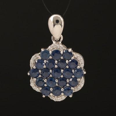 Sapphire and Zircon Cluster Pendant