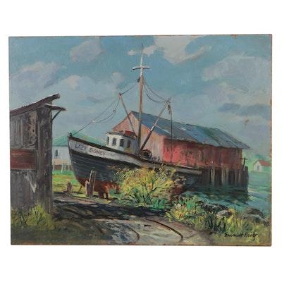 Emmett Fritz Oil Painting of Dock Scene