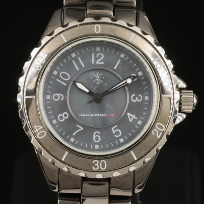 Isaac Mizrahi Live Ceramic and Black Mother of Pearl Dial Wristwatch