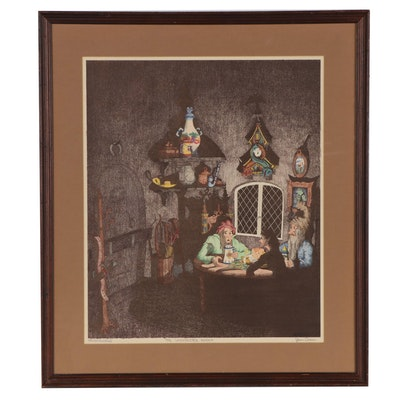 """Glenn Chase Hand-Colored Etching """"The Unexpected Knock"""""""