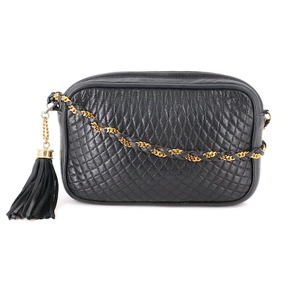 Bally Shoulder Bag in Quilted Leather with Braided Leather and Metal Chain Strap