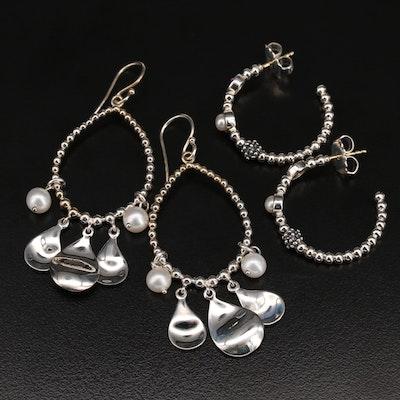 Michael Dawkins Sterling Earrings Including Pearl and Amethyst