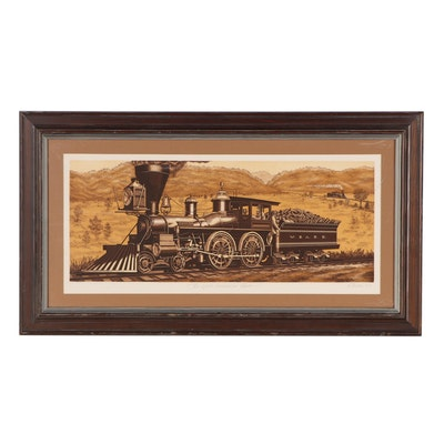 """Kathleen Cantin Etching With Aquatint """"The Great Locomotive Chase,"""" 1977"""