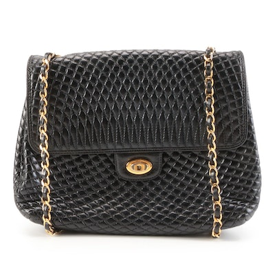 Bally Front Flap Bag in Black Quilted Leather with Interwoven Chain Link Strap