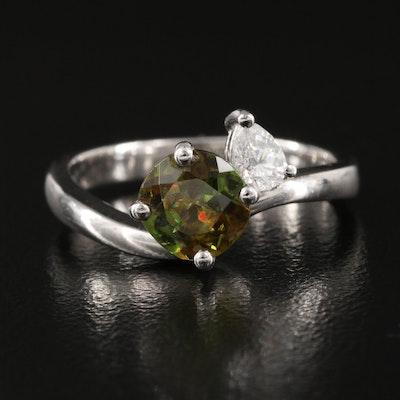 Platinum Sphene and Diamond Ring