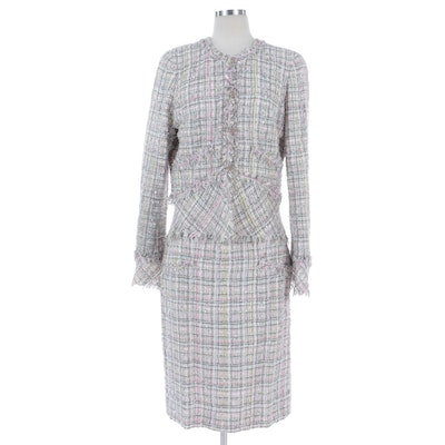 Chanel Tweed Skirt Suit with Clover Embellishments