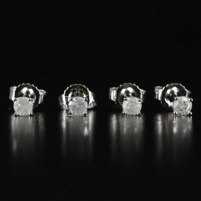 Two Pairs of 14K 0.17 CTW Diamond Stud Earrings