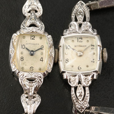 Pair of 14K Wittnauer Diamond Wristwatches