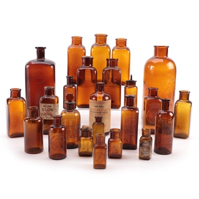 Eastman Kodak Co. and Other Amber Glass Darkroom Chemical and Apothecary Bottles