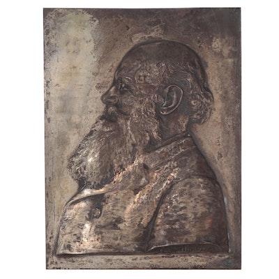 Alexander Zeitlin Bronze Plaque of Man in Profile, 1906
