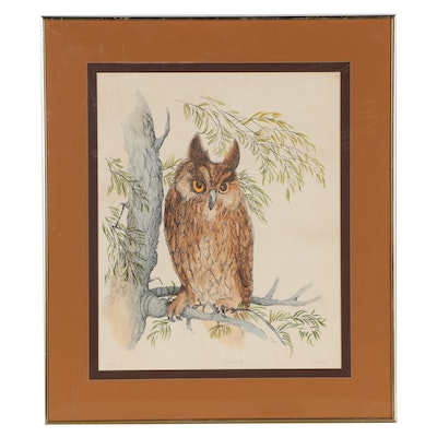 """Hand-Colored Offset Lithograph """"Owl II"""""""