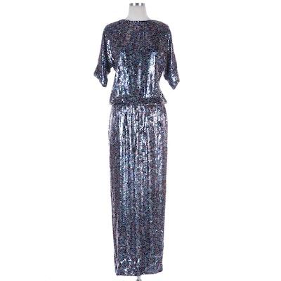 Tibi Multicolor Sequined Silk Open Back Dress