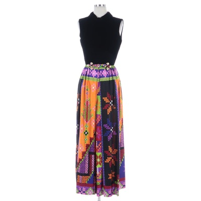 Futura Couture of New York Velvet Bodice Sleeveless Jumpsuit, 1970s
