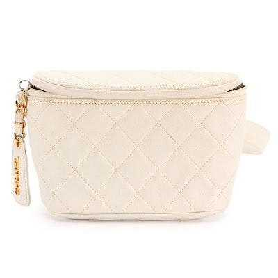 Chanel Belt Bag in Quilted White Caviar Leather