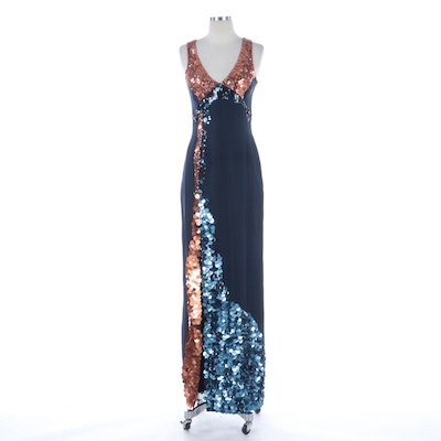 Anthony Thomas Galante for Norman Norell Sequined Silk Georgette Evening Gown