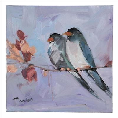 "Jose Trujillo Oil Painting ""Birds' Chorus,"" 2021"