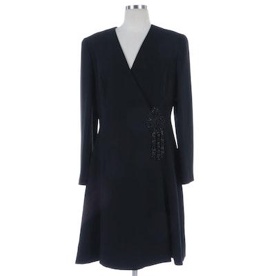 Badgley Mischka Embellished Black Occasion Mock Coat Dress