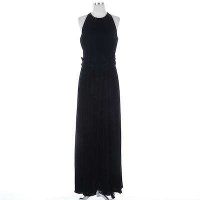 Jil Sander Black Velvet Sleeveless Evening Dress