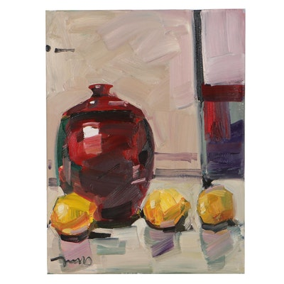 "Jose Trujillo Oil Painting ""Lemons,"" 2021"
