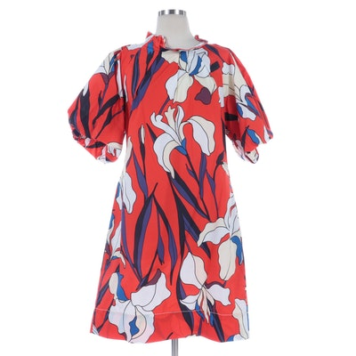 Odeeh Fancy Flowers Iris Print Cotton Short Sleeve Dress