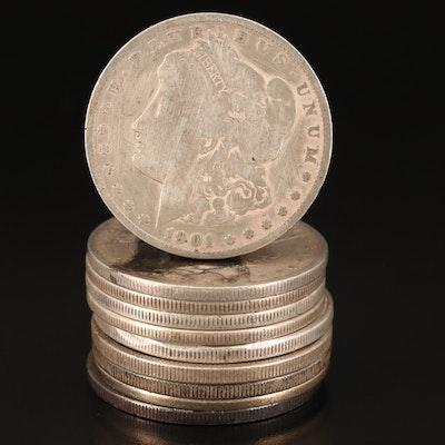 Ten Morgan Silver Dollars, Including Better Dates