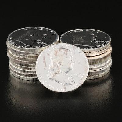 Twenty 1962 Franklin Silver Proof Half Dollars