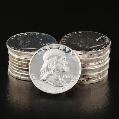 Twenty 1963 Franklin Silver Proof Half Dollars