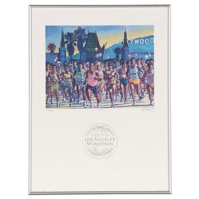 Kelly Akins Offset Lithograph Poster for The City of Los Angeles Marathon, 1994