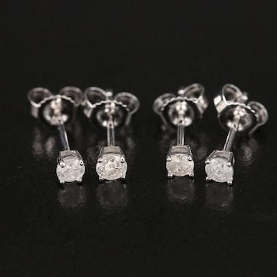 14K 0.22 CTW & 0.18 CTW Diamond Stud Earrings