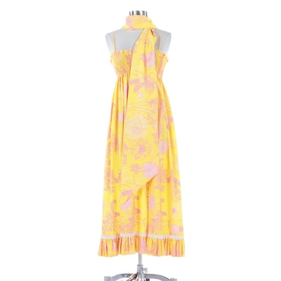 The Lilly by Lilly Pulitzer Floral Print Smocked Dress with Wrap, Mid-1960s