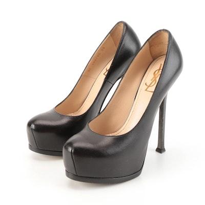 Yves Saint Laurent Tribtoo 105 Pumps in Black Grained Calfskin Leather