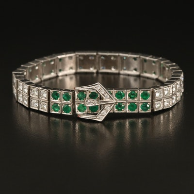 D. Goharbin 18K Emerald and 3.93 CTW Diamond Jarretière Bracelet