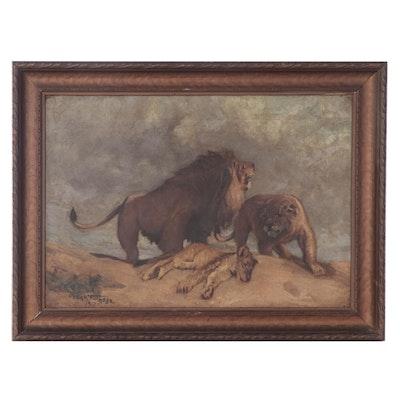 Oscar Fuchs Jr. Oil Painting of Lions, 1917