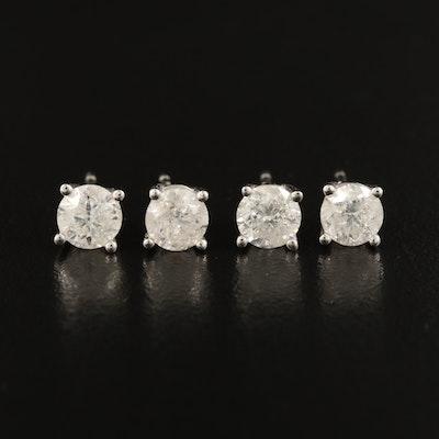 10K 0.80 CTW and 0.96 CTW Diamond Stud Earrings
