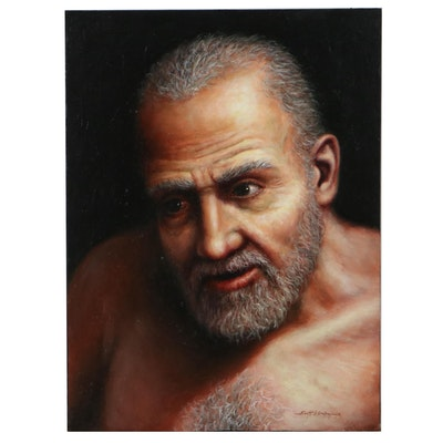 "Scott B. Goodwillie Realist Portrait Oil Painting ""Geezer,"" 2010"