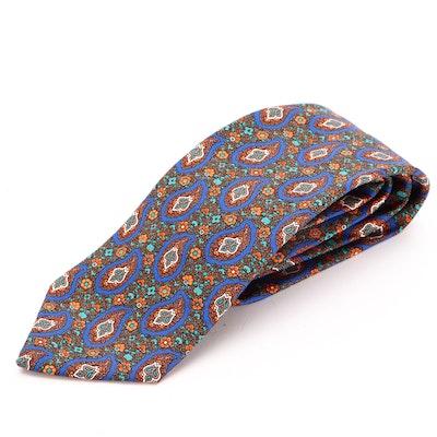 Men's Lanvin of Paris Paisley and Floral Print Silk Twill Necktie