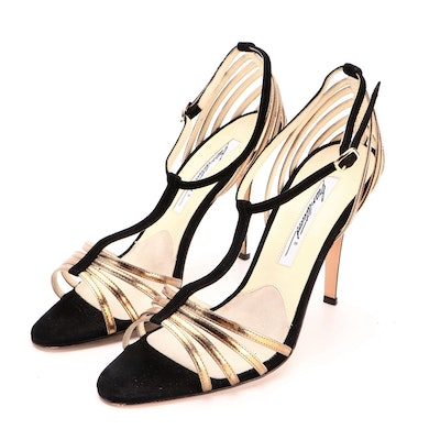 Brian Atwood T-Strap Dress Sandals in Black Suede and Metallic Gold Leather