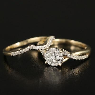 10K 0.31 CTW Diamond Cluster Ring Set