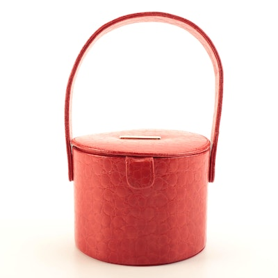 St. John Red Embossed Leather Purse
