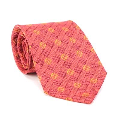 Gucci Necktie in Red Silk with Buckle Strap Pattern