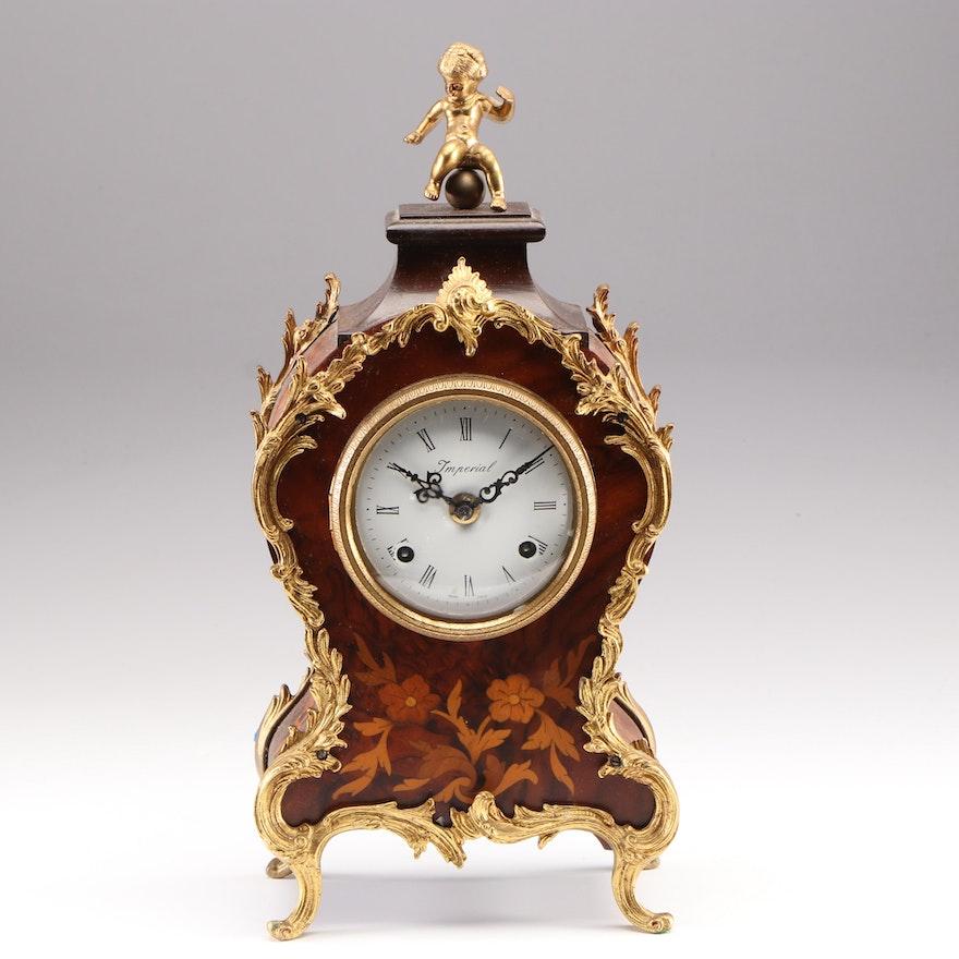Rococo Style Italian Marquetry Ormolu Mounted Mantel Clock, Late 20th Century
