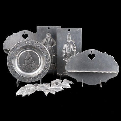 Virginia Metalcrafters Pewter Williamsburg Cookie Molds and Wilton Tableware