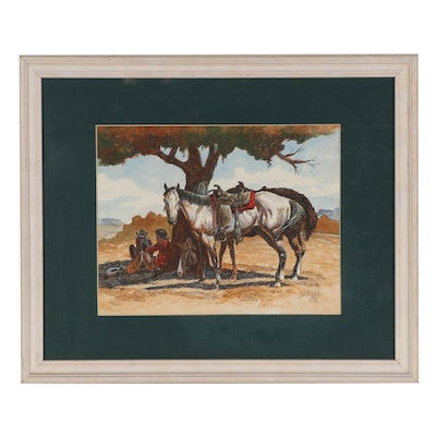 Justin Wells Western Themed Hand-Colored Lithograph, 1985