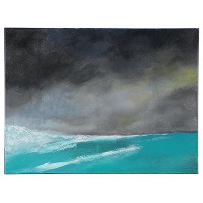 """Neville Shenton Acrylic Painting """"Crashing Wave,"""" 21st Century"""
