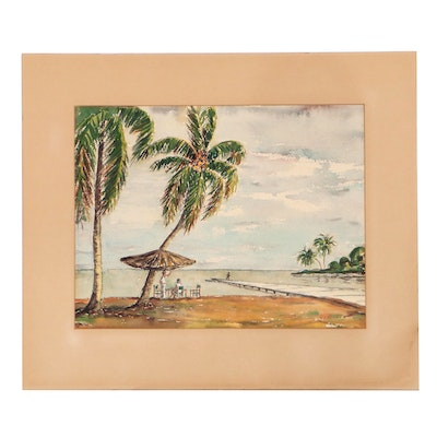 Catherine Hill Tropical Coastal Landscape Watercolor Painting, 1949