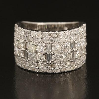 14K 2.58 CTW Diamond Multi-Row Ring
