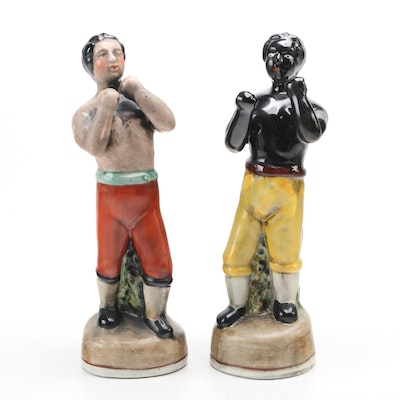 Staffordshire Style Earthenware Tom Molineaux and Tom Cribb Boxer Figurines