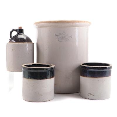 Robinson Ransbottom 10 Gallon Stoneware Crock, Other Whiskey Jug and Crocks